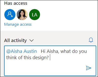 Tarjeta de actividad en OneDrive que muestra @mention característica.