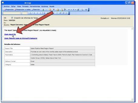 Cuando Duet entrega un informe, envía un mensaje de notificación de correo electrónico.