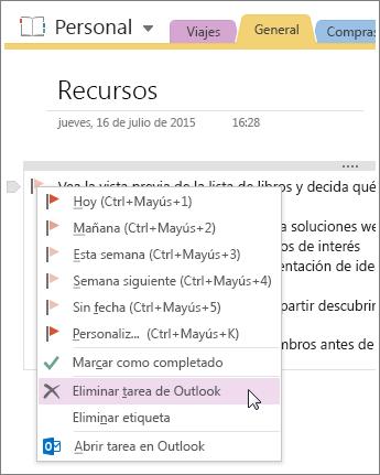 Captura de pantalla de cómo eliminar una tarea de Outlook en OneNote 2016.
