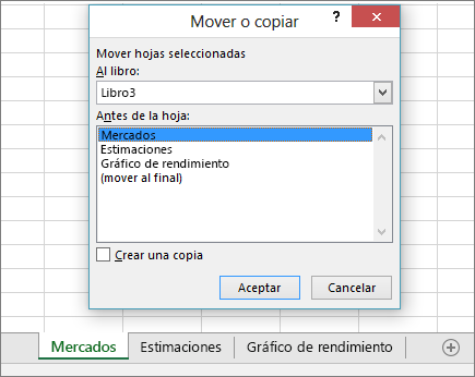 Cuadro de diálogo Mover o copiar