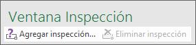 Haga clic en Agregar inspección para agregar una inspección a la hoja de cálculo