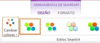 Botón Cambiar colores en el grupo Estilos SmartArt