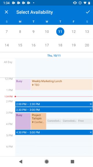 """Se muestra un calendario en una pantalla de Android. Encima del calendario, se lee """"Seleccionar disponibilidad"""". Hay un botón de marca de verificación a la derecha de este."""