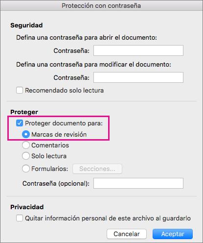 Cuadro de diálogo Proteger con contraseña, con las opciones Proteger documento para: y Cambios realizados resaltadas.