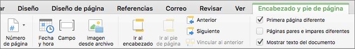 Cuando hace doble clic en un área de encabezado o pie de página, Word muestra la pestaña Encabezado y pie de página.