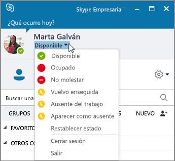 Captura de pantalla de la ventana de Skype Empresarial con el menú Estado abierto.