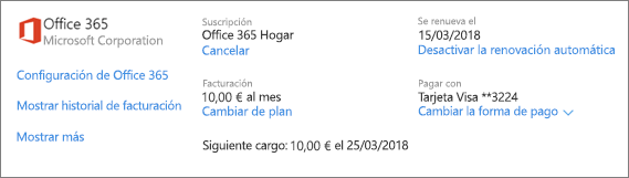 Captura de pantalla de la página de servicios y suscripciones que muestra los datos de una suscripción de Office 365 Hogar.