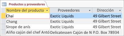 Fragmento de pantalla con datos de productos y proveedores