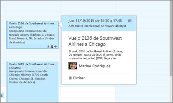 Captura de pantalla de Outlook que muestra la información de vuelo.