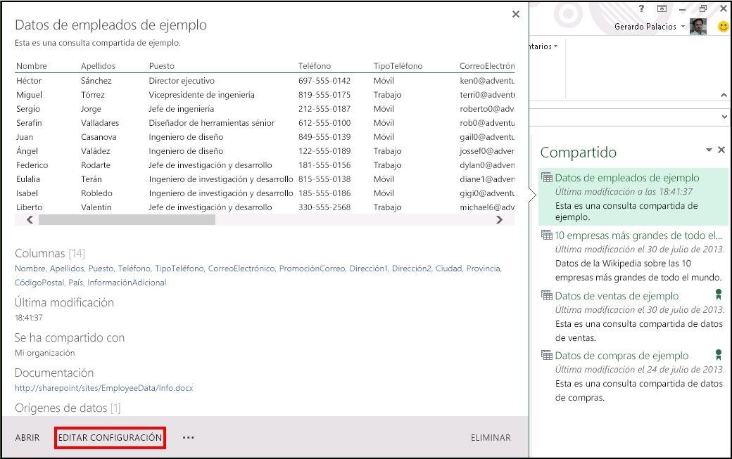 Editar los metadatos de una consulta compartida