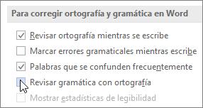 Casillas de verificación de gramática
