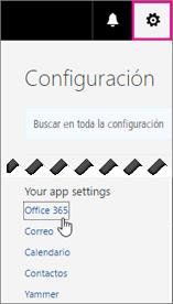 Elija Configuración de Office 365