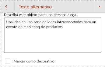 Cuadro de diálogo texto alternativo para una forma en PowerPoint para Android.