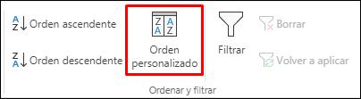 Opción de ordenación personalizada de Excel en la pestaña Datos