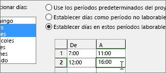 Configurar los períodos laborables