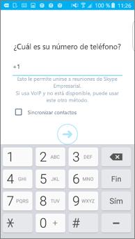 Captura de pantalla de la ventana donde se escribe el número de devolución de llamada en un teléfono Android