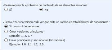 Control de versiones y aprobación desactivado