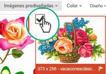 Seleccione la imagen en miniatura de la imagen que desea insertar. Se mostrará una marca de verificación en la esquina superior izquierda.