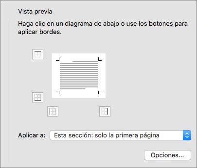 Se muestra el cuadro Vista previa en el cuadro de diálogo Bordes y sombreado