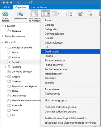 Ordenar el correo de diferentes formas, haga clic en Organizar > Organizar por > y seleccione de la lista de opciones