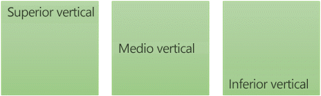 Tres opciones de alineación de texto vertical: medio, superior e inferior