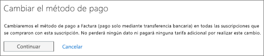 La notificación que se muestra al cambiar del pago mediante factura a tarjeta de crédito o cuenta bancaria.