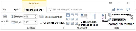 Captura de pantalla muestra el cursor apuntando a la opción para repetir filas de encabezado en herramientas de tabla en la ficha Diseño, en el grupo de datos.
