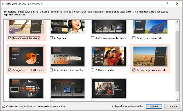Se muestra el cuadro de diálogo Insertar vista general de resumen en PowerPoint con secciones seleccionadas.
