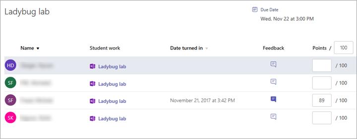 Captura de pantalla de la cuadrícula de revisión de tareas con páginas de Bloc de notas de clase entregadas por los alumnos.