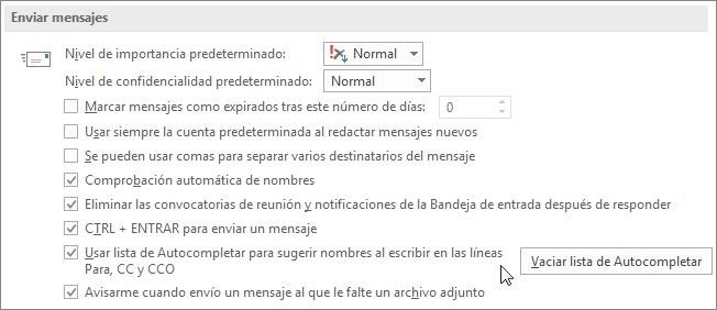 Elija archivo, opciones, correo y en enviar mensajes, desactive la casilla de verificación de la lista de Autocompletar.