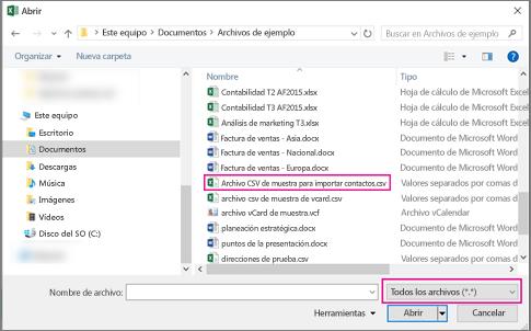 Para buscar el archivo .csv, asegúrese de buscar en todos los archivos.