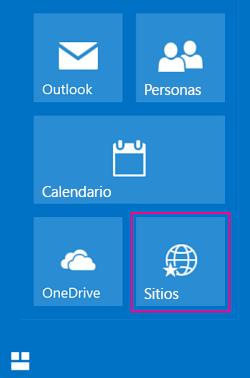 Seleccionar el icono Sitios para ver una lista de los sitios de SharePoint
