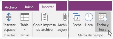 Captura de pantalla del botón Fecha y hora en OneNote 2016.