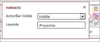 Cuadro de diálogo Formato de una vista de hoja de datos web