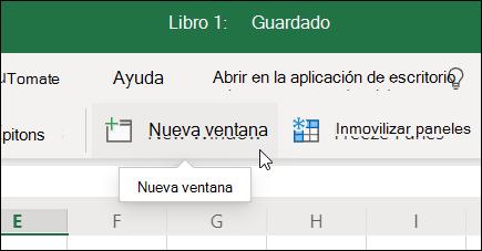 Comando Nueva ventana en la cinta de opciones de Excel para la web