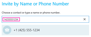 Número de teléfono para llamar en Skype Empresarial