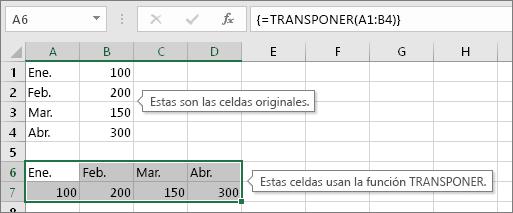 Arriba las celdas originales, abajo las celdas con la función TRANSPONER