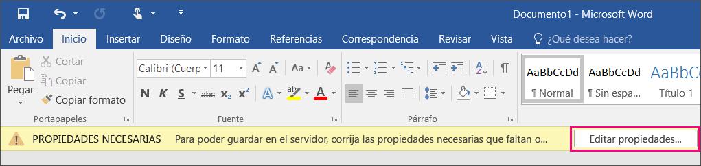 Botón Editar propiedades en la barra de notificación