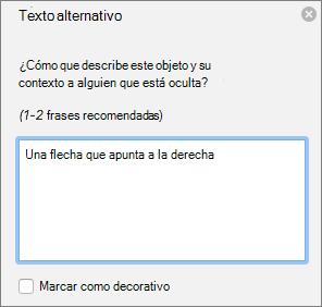 Cuadro de diálogo de texto de Excel 365 escribir alternativo de formas
