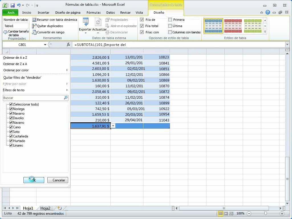 Usar fórmulas en tablas