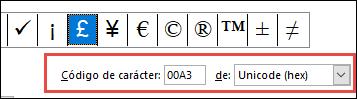 El campo de indica que se trata de un símbolo Unicode