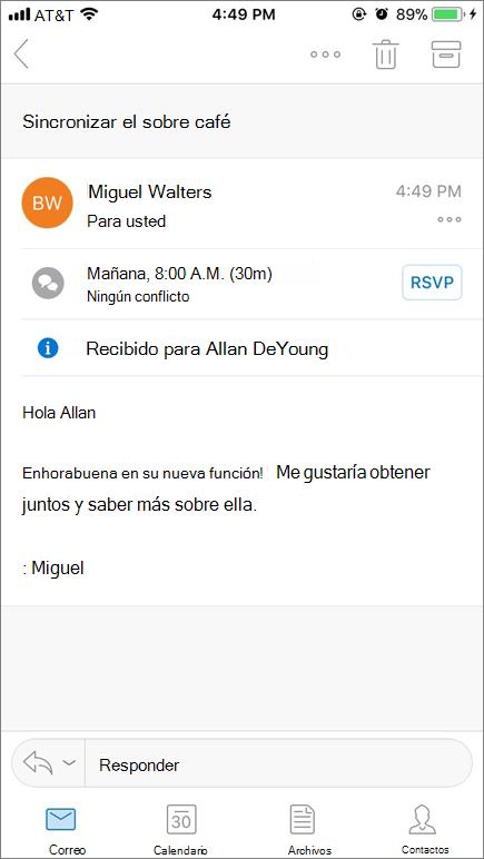 Captura de pantalla que muestra la pantalla del dispositivo móvil con el elemento de correo.