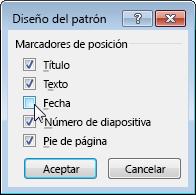 Mostrar u ocultar marcadores de posición del patrón de diapositivas