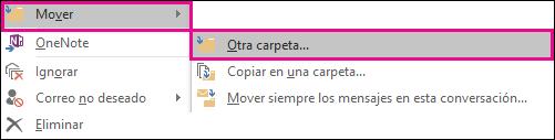 Haga clic en Mover y, a continuación, seleccione Otra carpeta