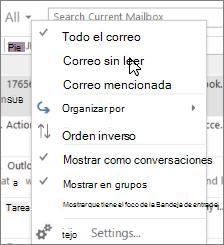 Captura de pantalla muestra la opción de correo no leído seleccionada en el menú desplegable todos en la cinta de opciones de la Bandeja de entrada.
