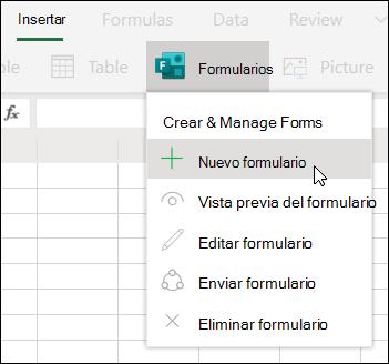 Opción Insertar nuevo formulario en Excel Online