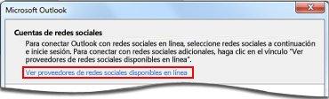 Vínculo a la página de proveedores de Outlook Social Connector