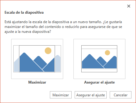 """Seleccione Maximizar para aprovechar al máximo el espacio disponible, o bien seleccione """"Asegurar el ajuste"""" para asegurarse de que el contenido se ajuste a la página vertical."""