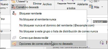 Una captura de pantalla del botón Opciones de correo electrónico no deseado