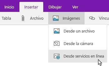 Pestaña Insertar en la que se muestra la lista desplegable Imágenes con la opción En línea resaltada.